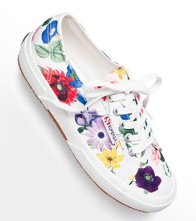 floral sneakers on white background