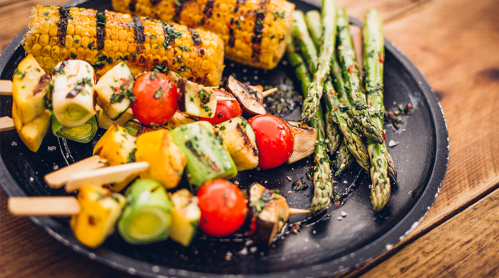 Grilled corn, asparagus and kabobs for barbecue
