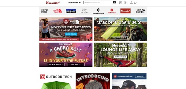 Moosejaw.com homepage