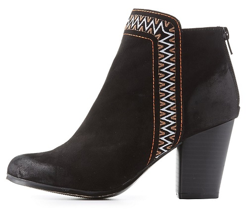 Qupid Black Tribal-Trim Booties