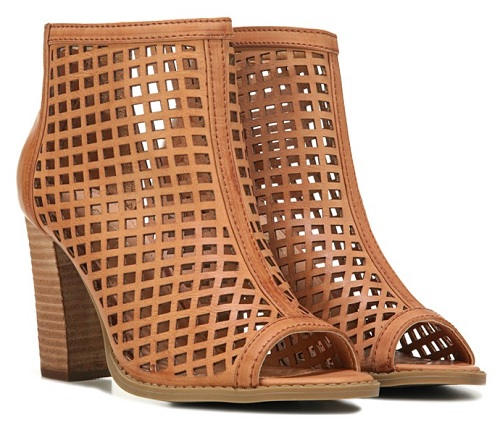 Ronda Tan Laser Cut Open Toe Bootie