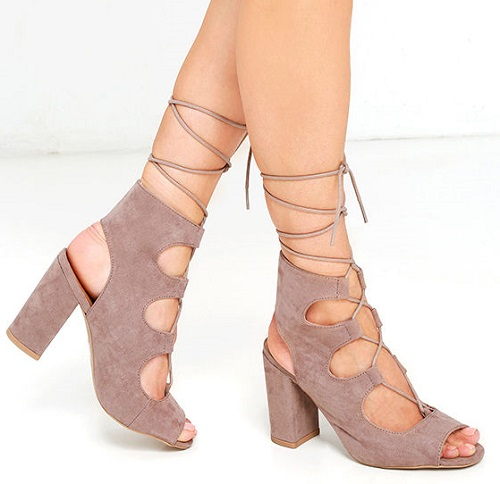 Trek the Town Taupe Suede Lace-up Booties