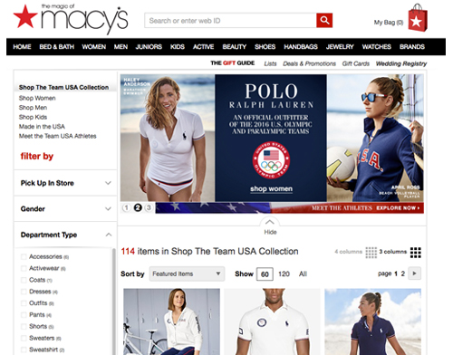 Shop Macy's Olympic gear with cash back at Ebates