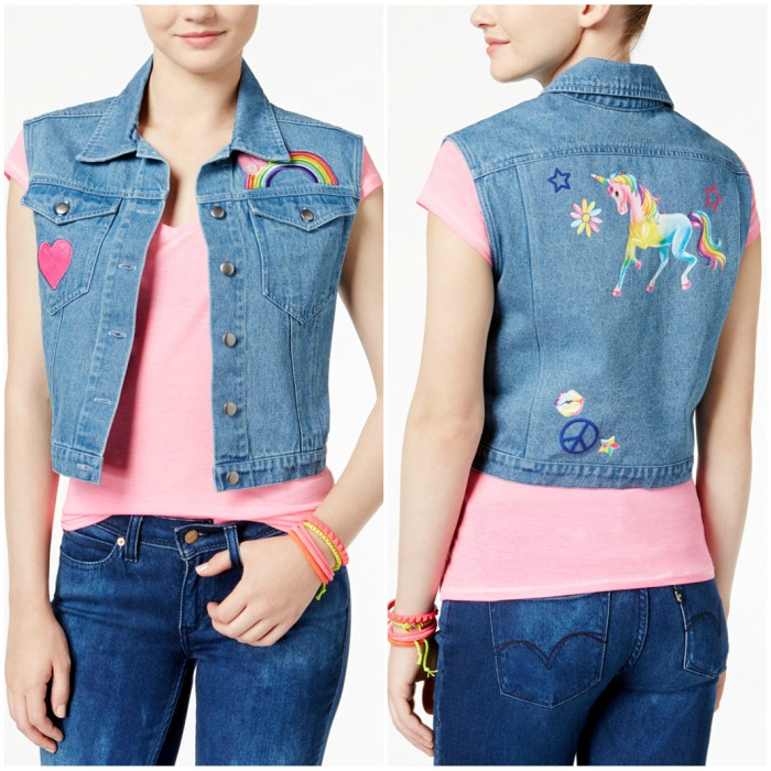 Lisa Frank Juniors' Patch Graphic Denim Vest