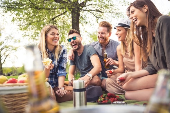 Friends having fun at a picnic