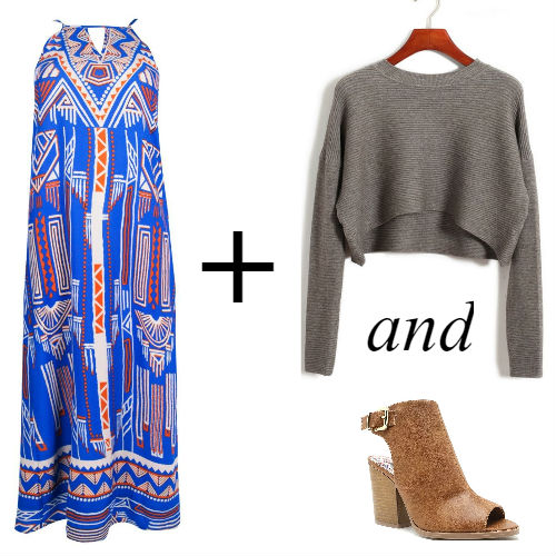 Maxi dress with cropped sweater and ankle boots