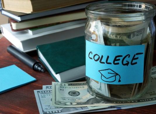 Jar full of money for college