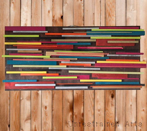 Colorful wood wall art