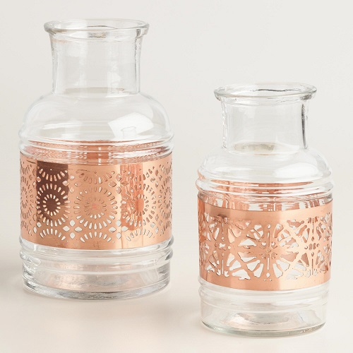 Copper Laser Cut Glass Vase, $9.98