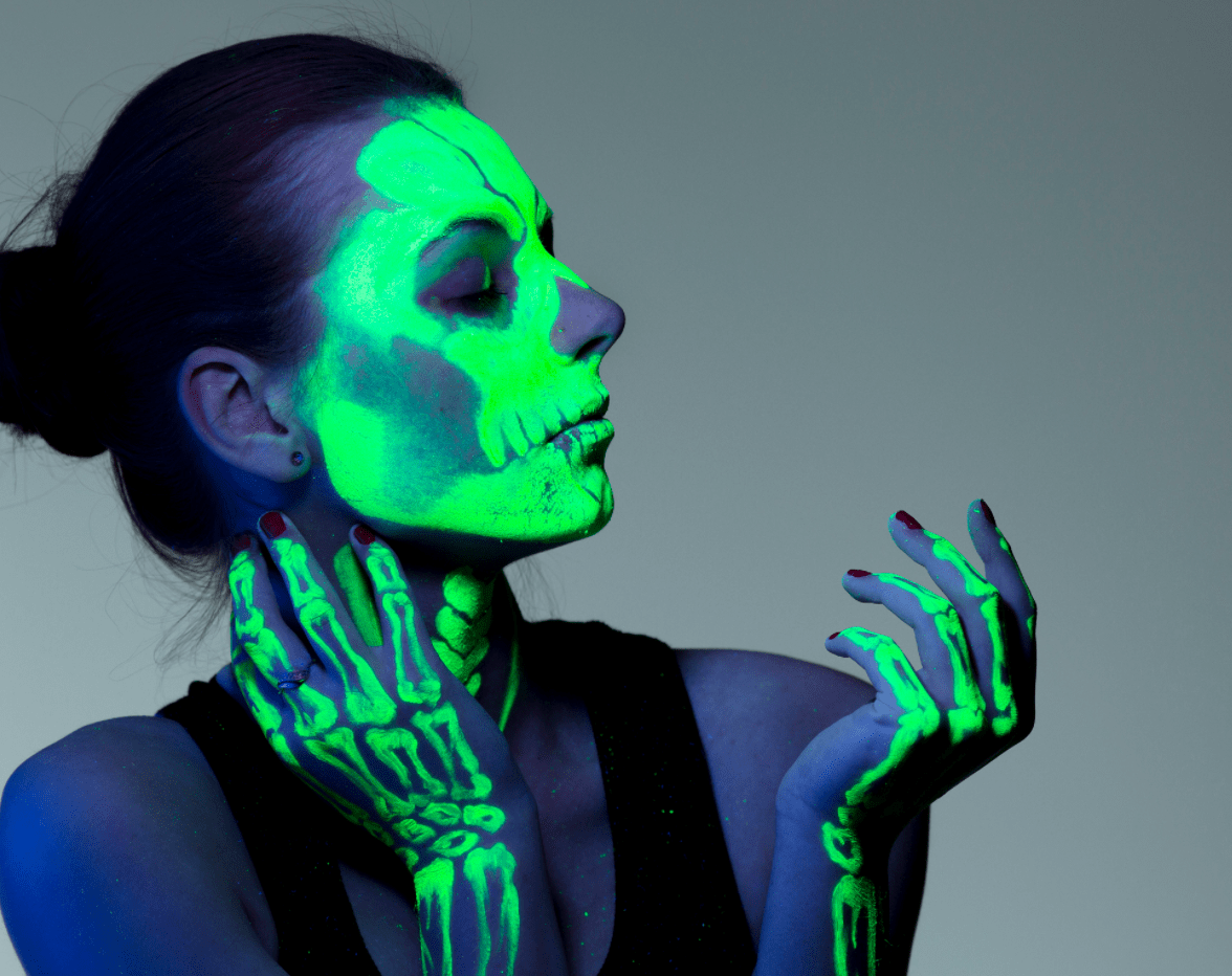 Ultraviolet skeleton girl portrait