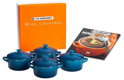 """Le Creuset Set of 4 Mini Cocottes with Mini-Cocotte Cookbook, $100"""