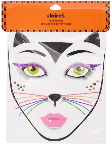 Neon Rainbow Cat Face Tattoo