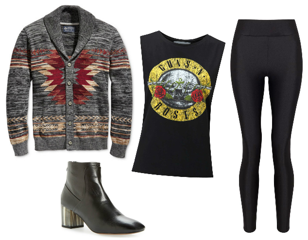 Men's cardigan, Guns N Roses tank top, liquid leggings, black ankle boots
