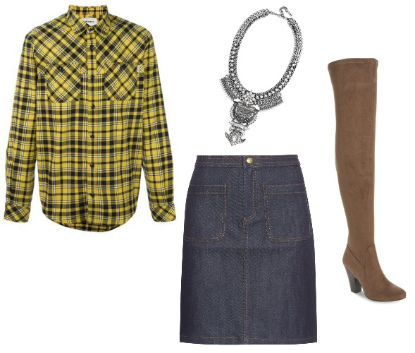 Men's flannel shirt, denim skirt, bib necklace and over the knee boots