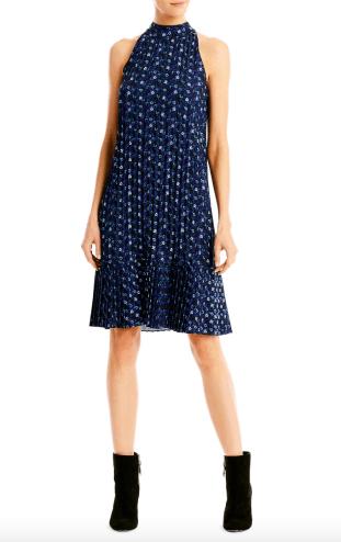 Blue Floral Pleat Dress