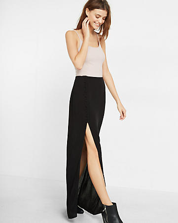 Express Side Button Maxi Skirt