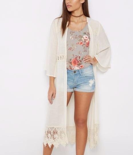 Crochet White Duster Robe