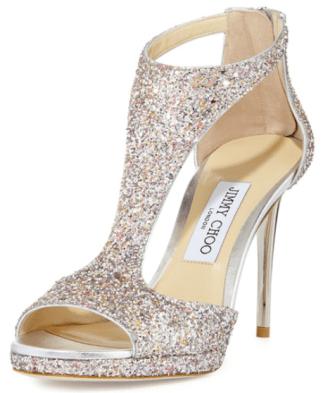 Neiman Marcus Jimmy Choo T Strap Glitter Heel