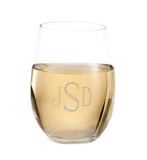 etched stemless wineglasses