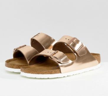 Birkenstock Arizona Copper Leather Flat Sandals