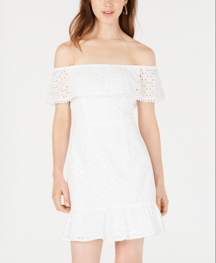 City Studios Juniors' Off-The-Shoulder Eyelet Dress