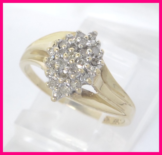 10k Yellow Gold Round Diamond Cluster Cocktail Dome Ring 37ct Ebay