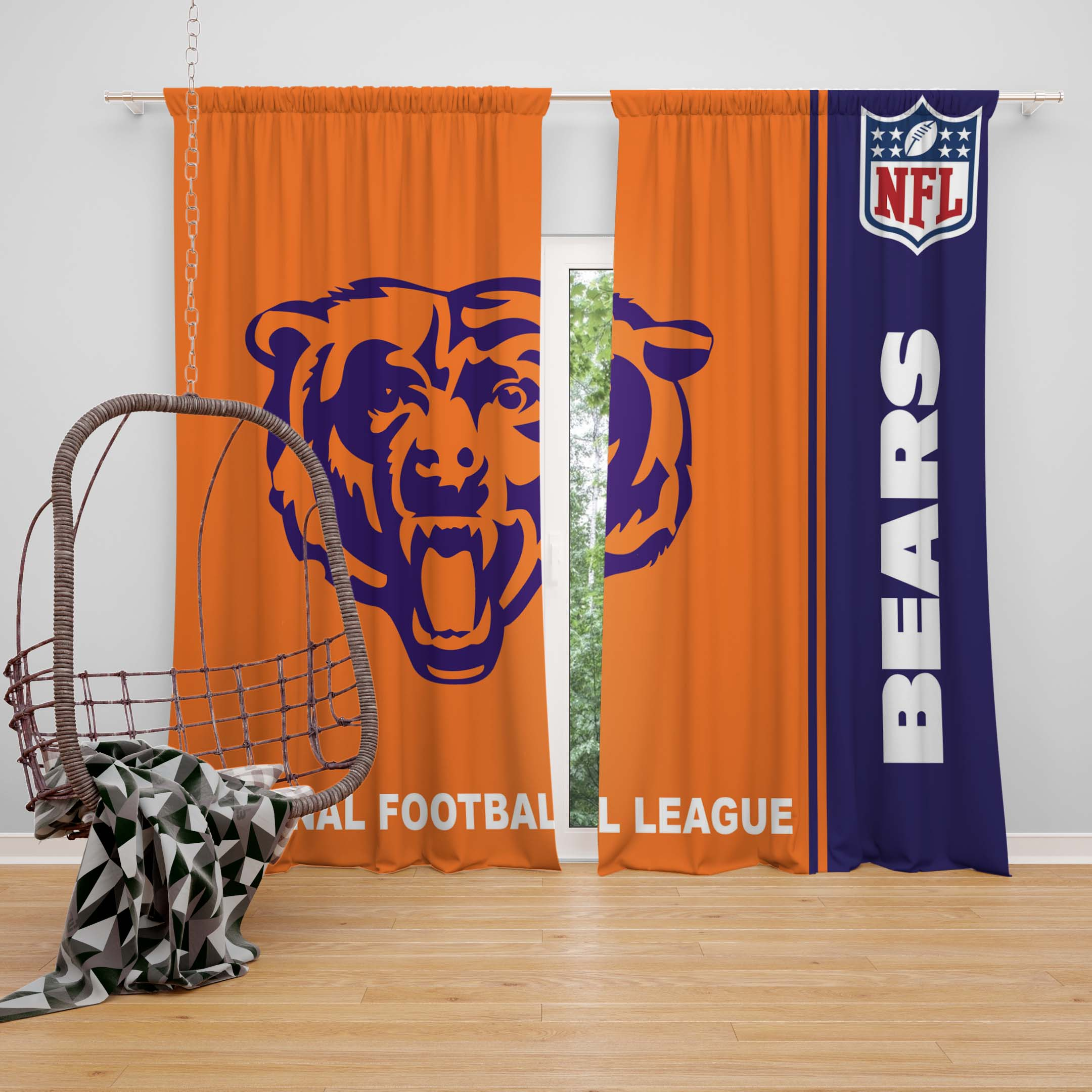 nfl chicago bears bedroom curtain