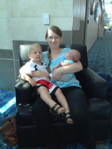 My mom with her two grandkids.