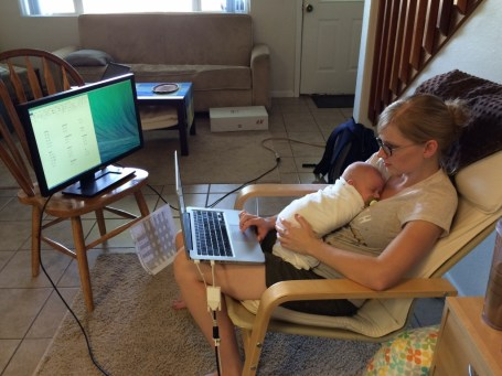 This is a few days after the semester had started. Johanna (and Linus) working on homework for Linguistics :)