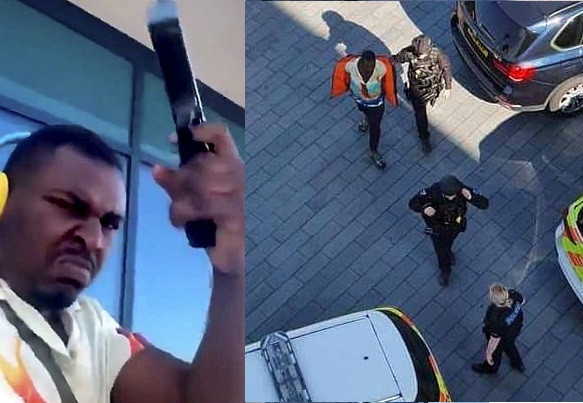 A Nigerian man arrested in the UK after live-streaming himself firing shots from the balcony