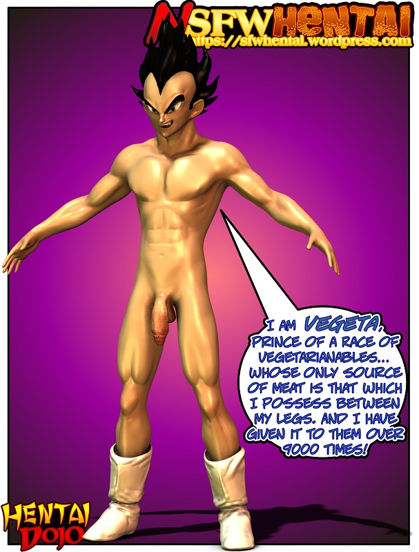 NSFW anime hentai cartoon porn art of Dragon Ball Z Saiyan prince Vegeta illustration.