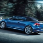 volkswagen golf cabriolet exterior on the road with roof up