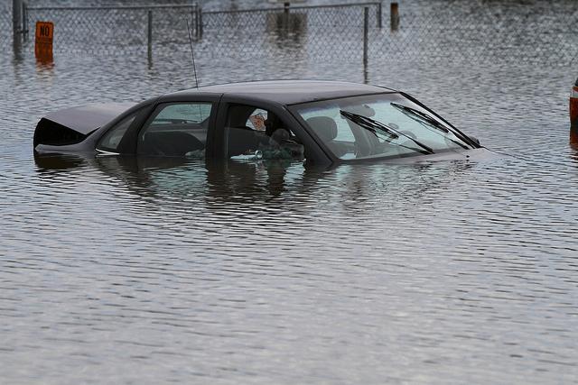car in a flood