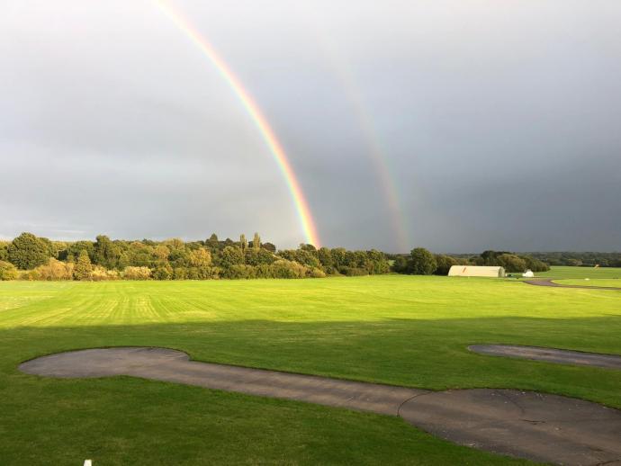 Double rainbow at Redhill aerodrome.
