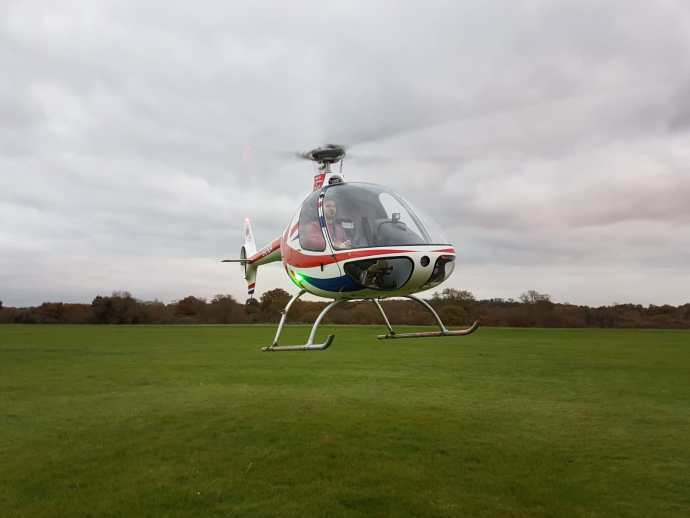 Stefan during his first solo flight looking great with EBG Helicopters