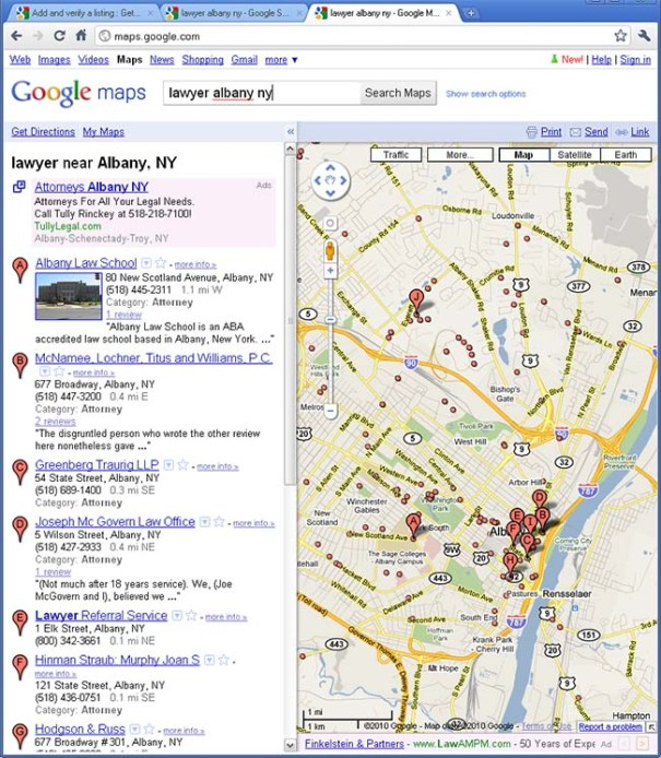 Google Places Example - search for lawyer albany ny in Google Maps