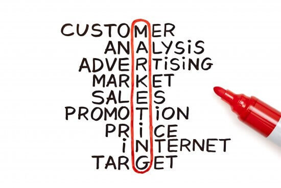Marketing chart with red marker