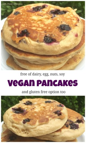 Vegan Pancakes also free of soy, nuts, dairy, egg and a gluten free option too!