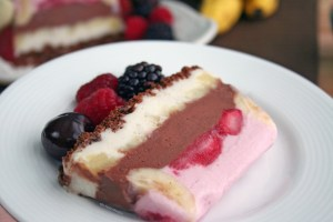 Simple to make! Dairy Free Banana Berry Split Ice Cream Cake