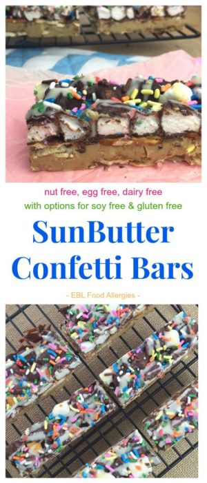 No Bake SunButter Confetti Bars are dairy, egg & nut free with soy & gluten free options too!