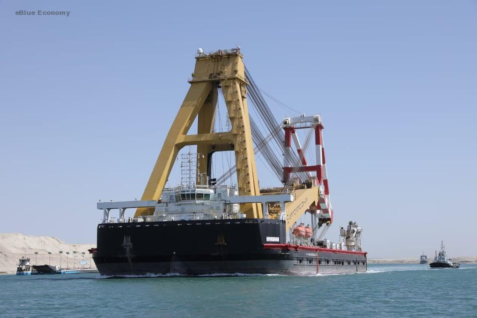 eBlue_economy_ عبور الونش العائم _ ASIN HERCULES 111_ قادما من سنغافورة ضمن 53 سفينة عملاقة اليوم