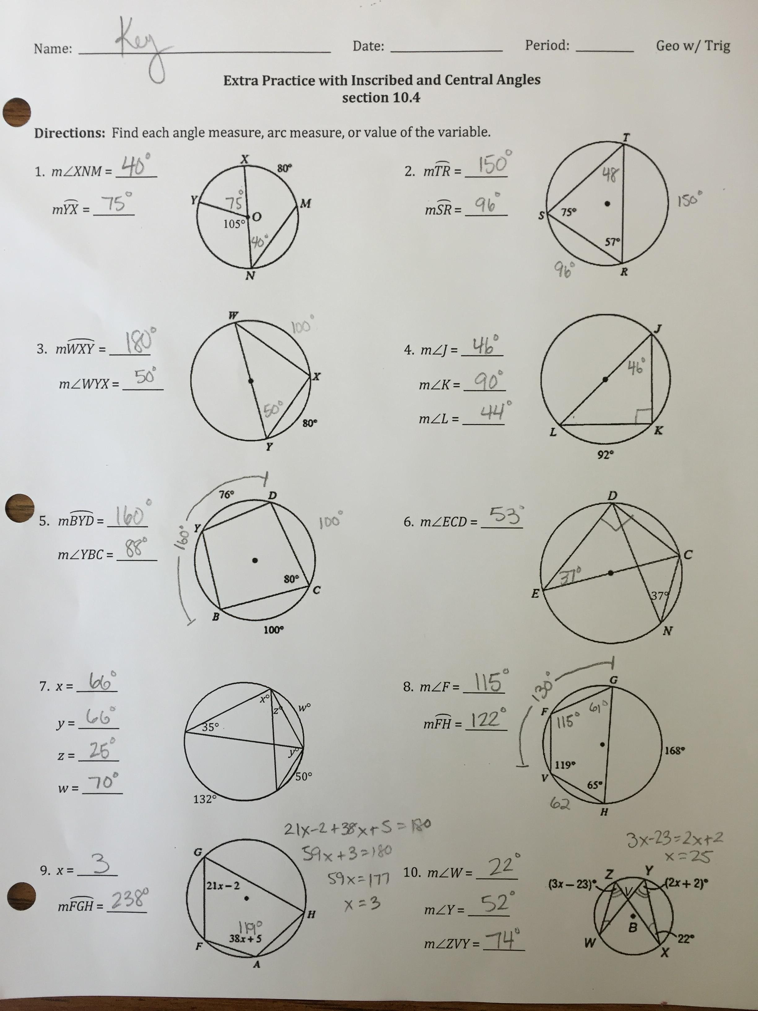 Equations Of Circles Worksheet 2 Answer Key