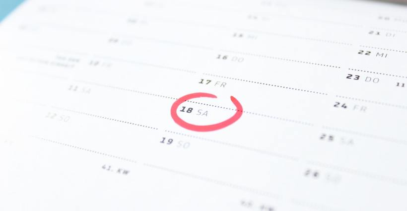 Calendar with day marked in red