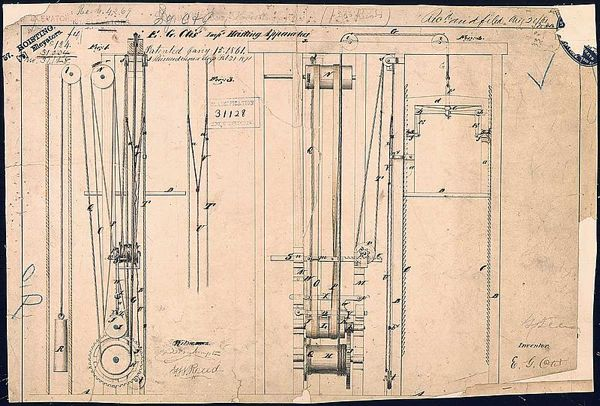 Otis' elevator patent drawing, January 15 1861