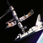 Shuttle docking with Mir
