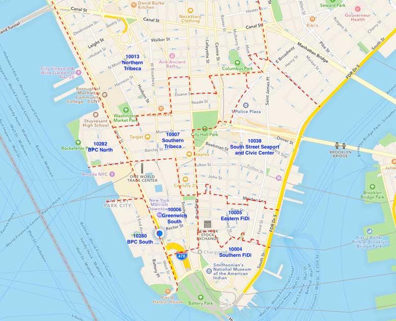 Zip Codes Map Manhattan Nyc
