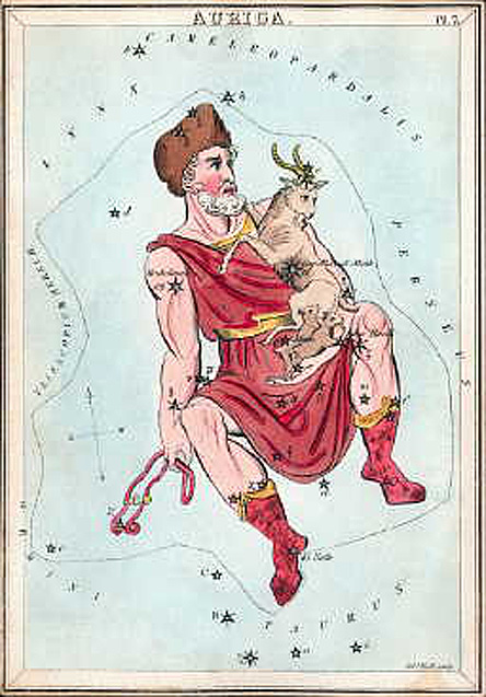 Constellation Auriga as depicted in a set of constellation cards published in London c.1825. Image via Wikimedia Commons