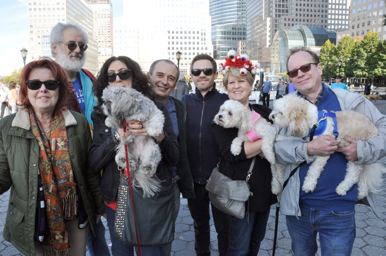 The judges, Sheila Rossi, Rich Brotman, Judy Passer and Phil Castiglia of Le Pet Spa, Liam, Paula and Jeff Galloway