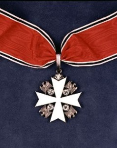 The Service Cross of the German Eagle, a Nazi medal presented to Charles Lindbergh byHermann Goering in 1938.