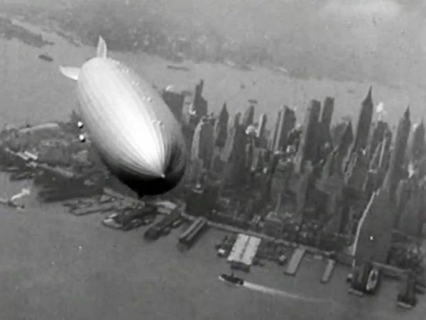Hindenburg over lower Manhattan